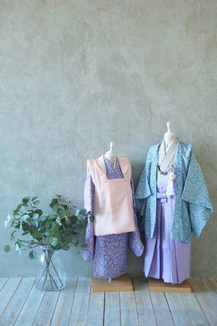 3歳女の子 5歳男の子 紫色の着物