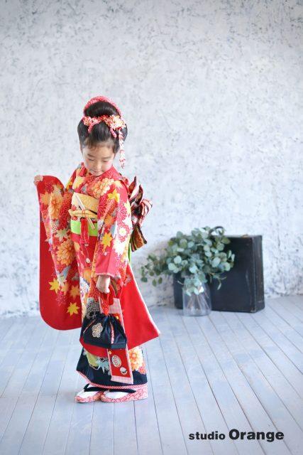 七五三 赤い着物 日本髪 7歳女の子
