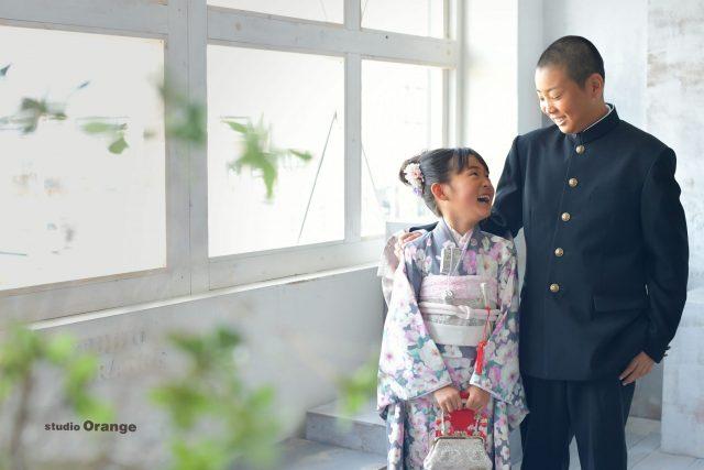 七五三 7歳 女の子 着物 兄弟 奈良市 写真館 スタジオオレンジ