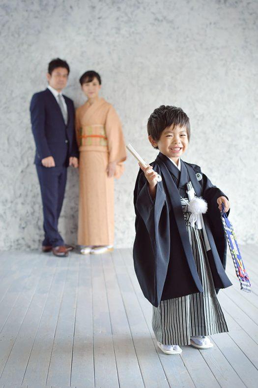 男の子 5歳 七五三 袴 家族