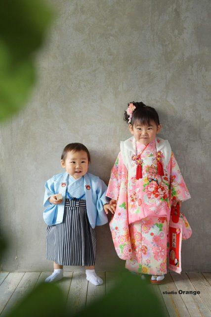 七五三 兄弟撮影 着物 3歳 女 1歳 男