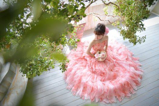 成人式前撮り ドレス 洋装 ピンク
