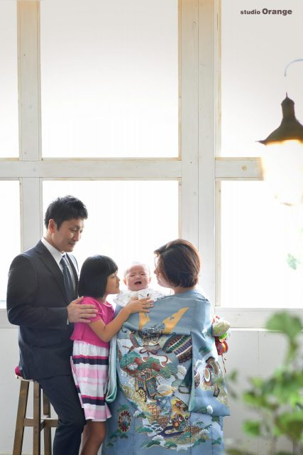 お宮参り 春日大社 家族撮影 グレーの着物