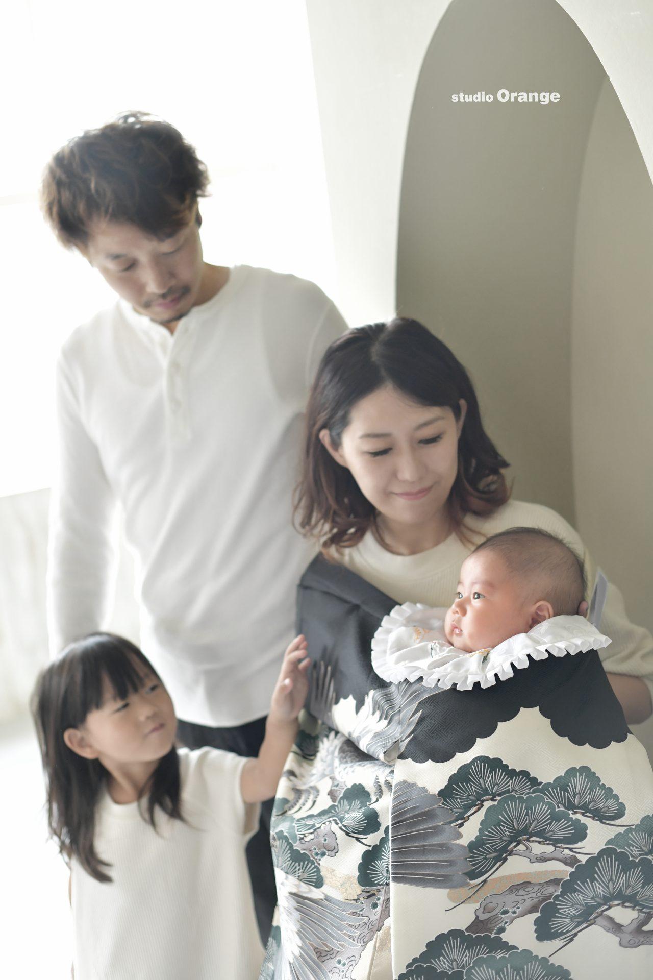 お宮参り 家族撮影 初着 祝着