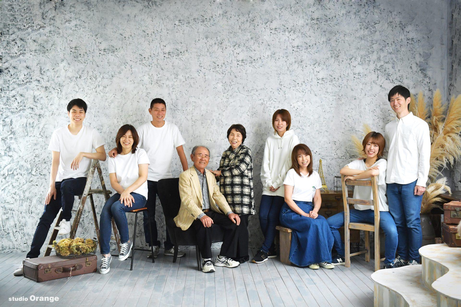 結婚記念日 祖父母 家族写真 一族総出