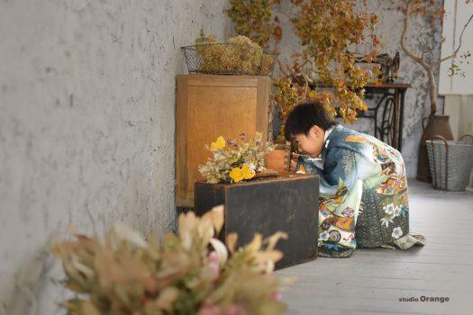 七五三 奈良 753 後撮り 前撮り スタジオ 太陽光 着物 男の子 袴