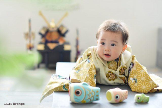 奈良市四条大路 端午の節句 スタジオの兜 6ヶ月男の子 初節句
