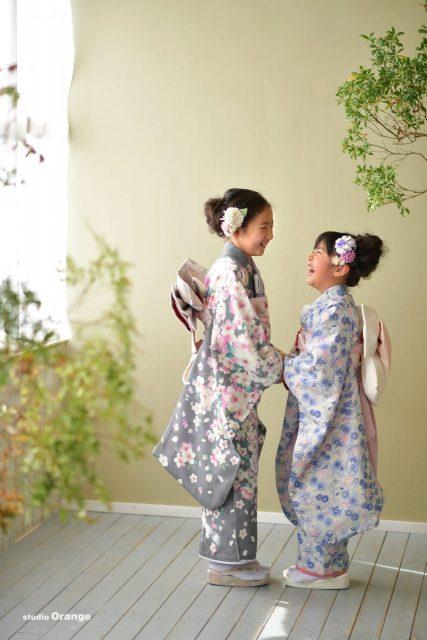 753 七五三 前撮り 後撮り スタジオ 奈良 着物 七歳 女の子 可愛い