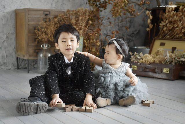節句 お誕生日 着物 ドレス 兄妹 2ショット 可愛い かっこいい 男の子 女の子 5才 1才