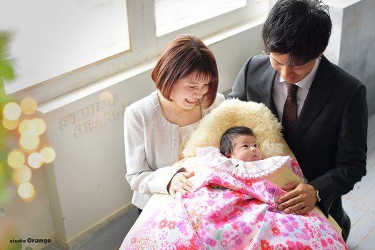 お宮参り 家族撮影 ピンクの着物