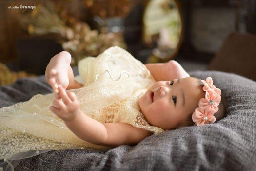 お宮参り 赤ちゃん 女の子 かわいい 着物 ピンク ドレス スタジオ 奈良 奈良スタジオ