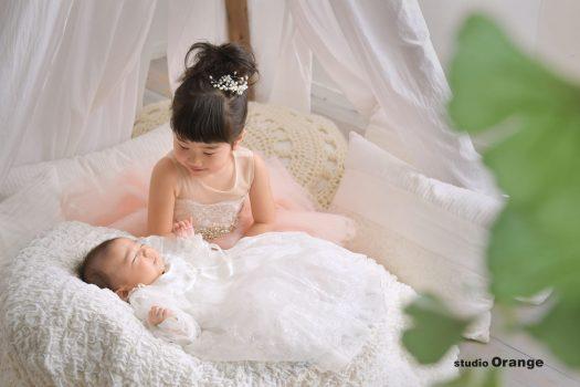 お宮参り 2ヶ月 赤ちゃん 乳児 女の子 ドレス 姉妹 2ショット ベビードレス セレモニードレス 兄弟