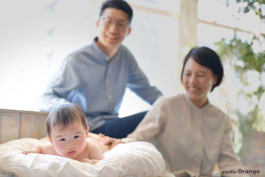 お宮参り 着物 家族写真 写真 奈良 写真館 スタジオオレンジ はだかんぼ