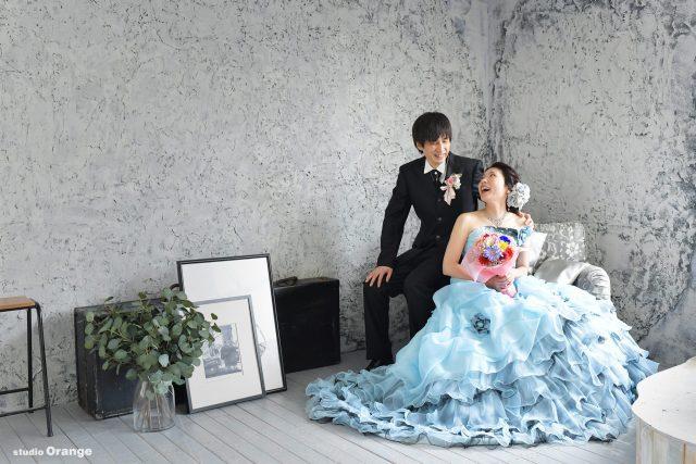 ウェディングフォト カラードレス 水色のドレス