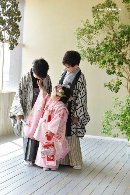 753 七五三 奈良 スタジオ 着物 3歳 兄妹 髪飾り 可愛い おしゃれ