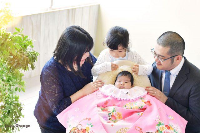 お宮参り 姉妹 家族写真 カチューシャ