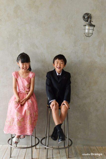 七五三 仲良し兄妹 ピンクのお着物 ピンクのドレス