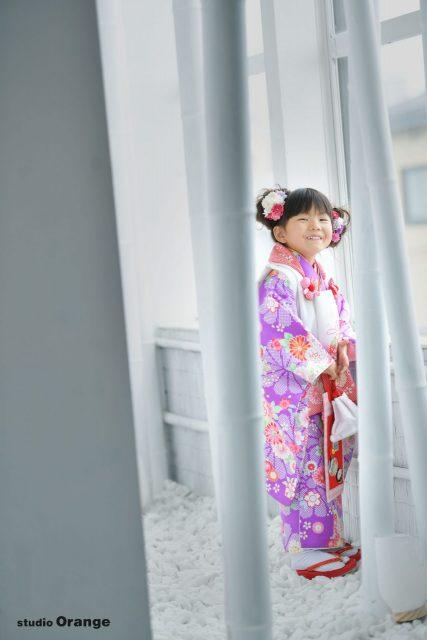 七五三 紫色のお着物 ピンクのドレス ヘアアレンジ