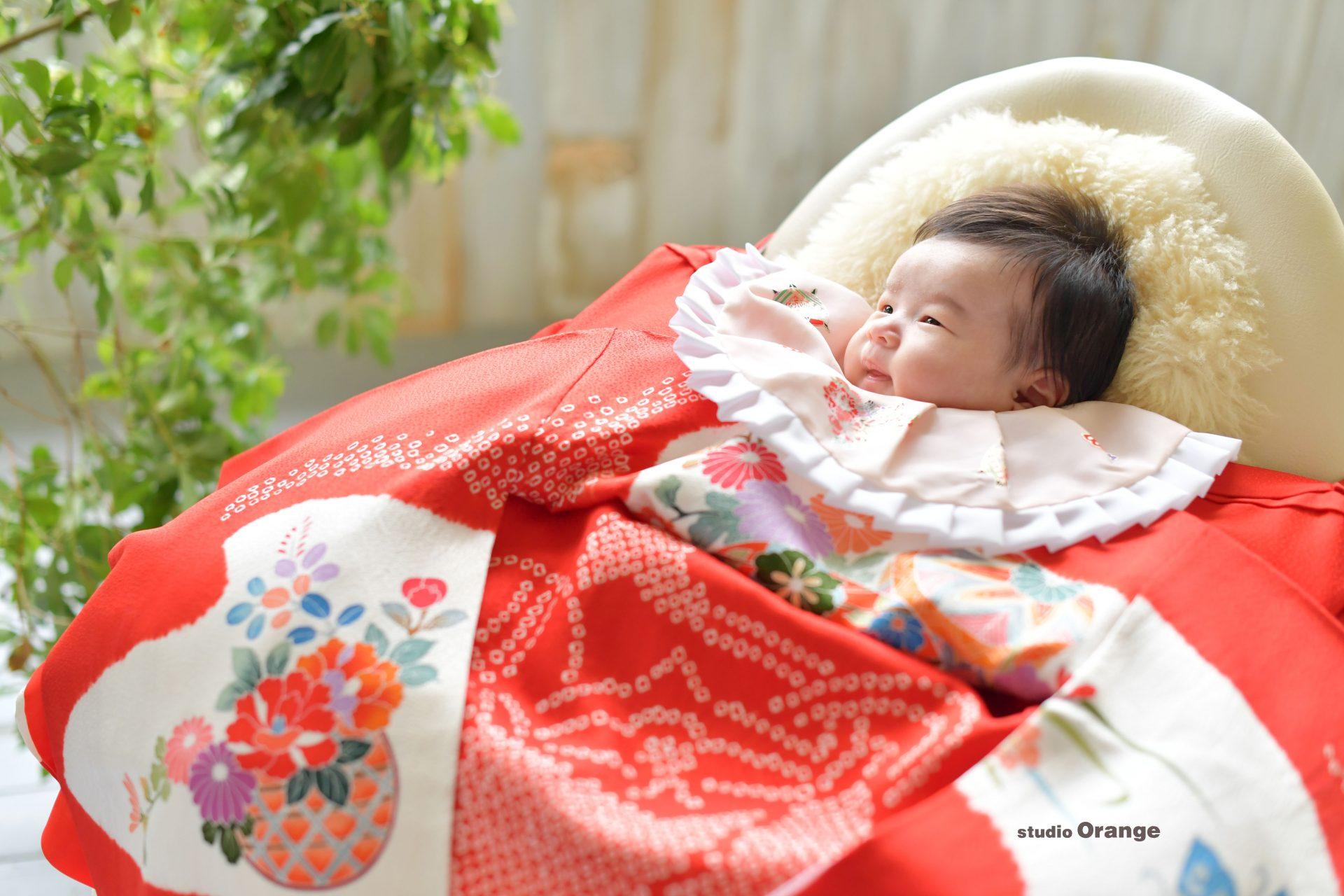 お宮参り 一ヶ月男の子 赤い産着 ベビードレス