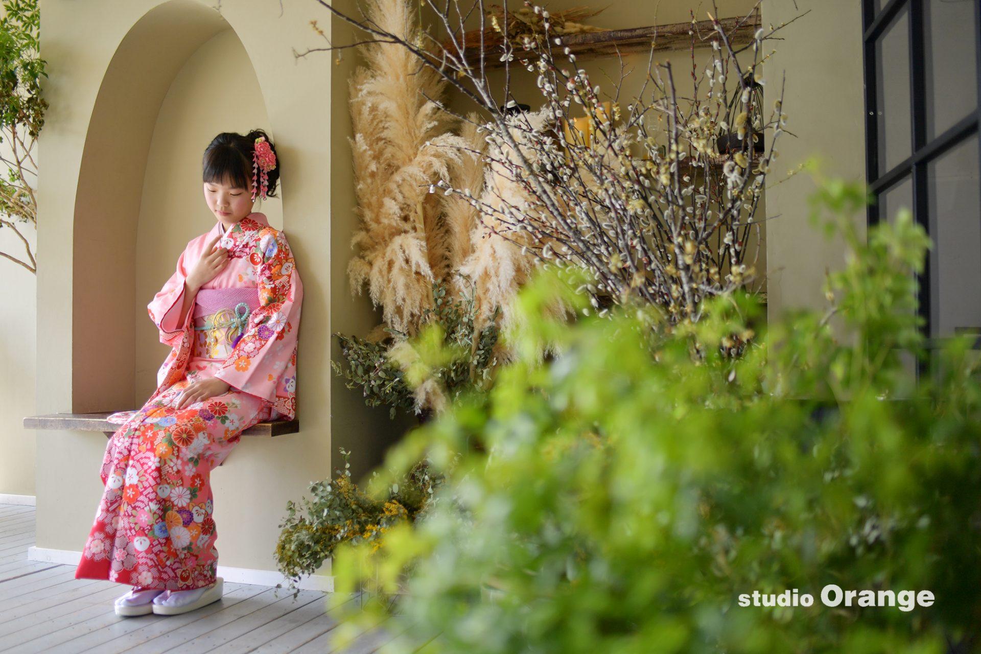 十三詣り ピンクの着物 十三歳記念