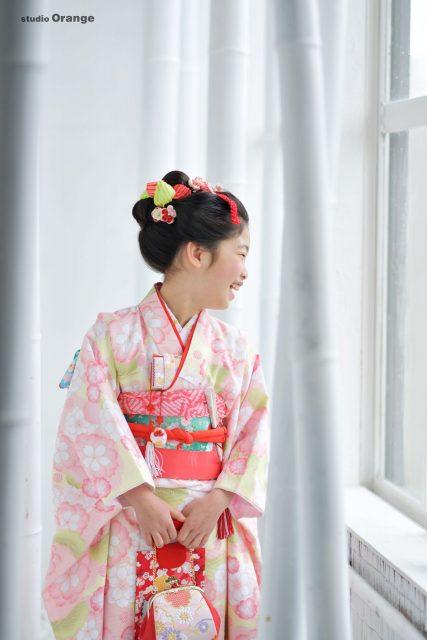 七五三 ピンクの着物 7歳女の子 日本髪