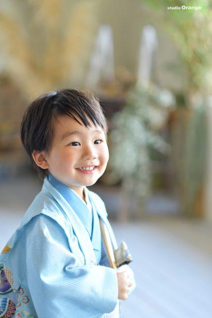 水色の着物 3歳男の子 七五三