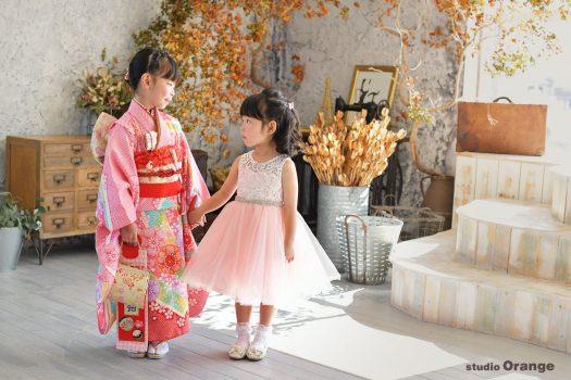 七五三 春日大社 スタジオオレンジ 奈良市写真館 和服 7歳 3歳 お参り