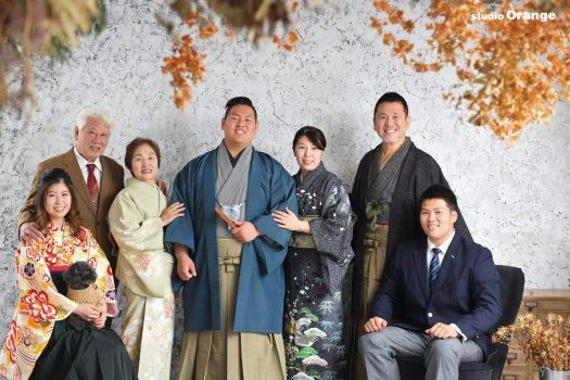 男性成人 家族写真 袴 姉弟撮影