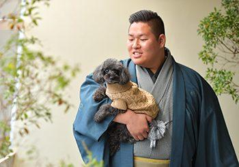 男性成人式 袴 トイプードル