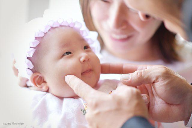 お宮参り 家族写真 3ヶ月女の子