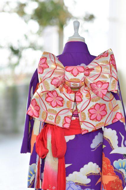7歳 女の子 紫色の着物 七五三