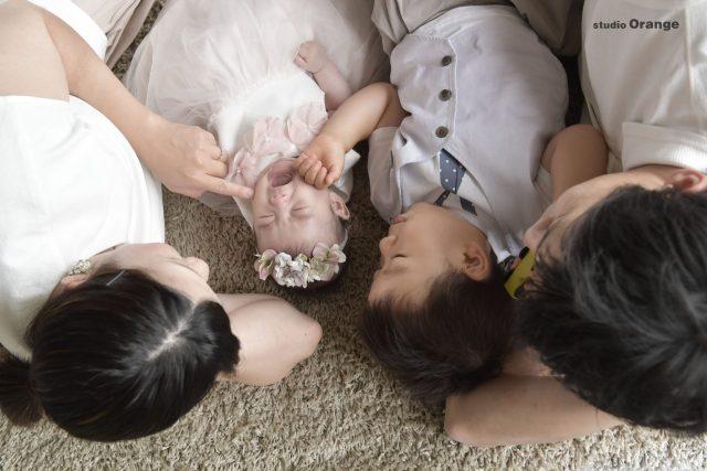 お宮参り スタジオ 奈良スタジオ お宮参り撮影 参拝 着物 初着 可愛い 女の子 ピンク着物 持ち込み小物 ウサギ