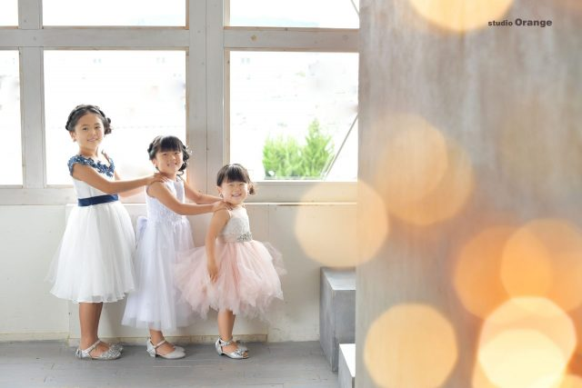 753 七五三 女の子 姉妹 3姉妹 ドレス 着物 7歳 5歳 3歳 ヘアセット 子供ヘア 奈良 スタジオ 奈良スタジオ