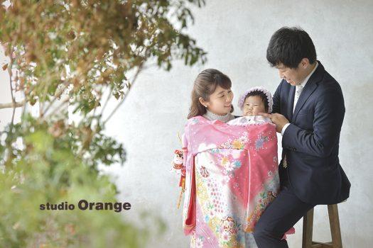 お宮参り 女の子 祝い着 初着 着物 家族写真 奈良 スタジオ 可愛い 写真 おしゃれ