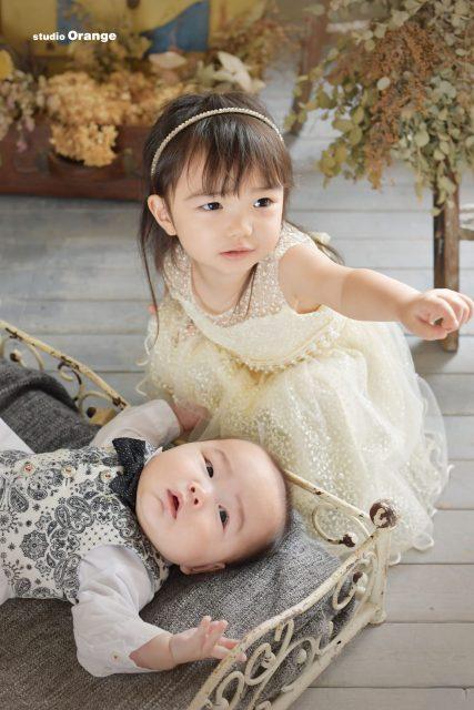 奈良 スタジオ 奈良スタジオ 着物 初着 男の子 持ち込み着物 可愛い 5ヶ月 赤ちゃん 姉弟 洋装 ドレス 裸んぼ