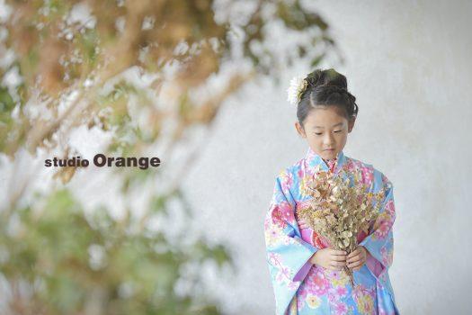 奈良 写真館 七五三 女の子 水色 ピンク 着物
