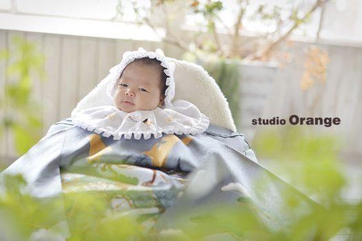 お宮参り  祝い着 初着 着物 家族写真 奈良 スタジオ 可愛い 写真 おしゃれ