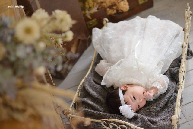 お宮参り 女の子 祝い着 初着 着物 ベビードレス セレモニードレス 家族写真 奈良 スタジオ 可愛い 写真 おしゃれ