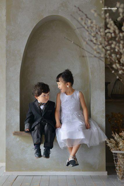 七五三 753 着物 袴 姉弟 家族撮影 ドレス タキシード 女の子 男の子 可愛い かっこいい 奈良 スタジオ