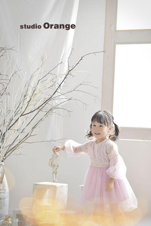 奈良 写真館 お誕生日記念 バースデーフォト 女の子 ピンク ドレス