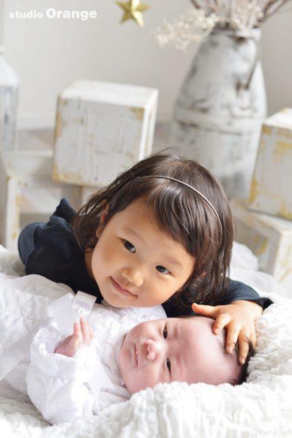 お宮参り 姉弟撮影 2歳女の子