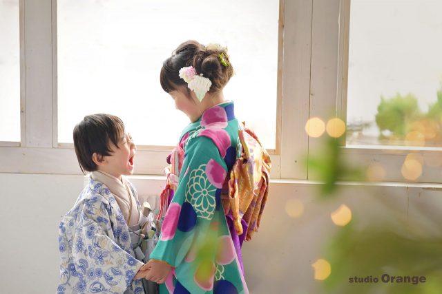 七五三 女の子 男の子 着物 参拝 お参り 奈良 フォトスタジオ 写真館