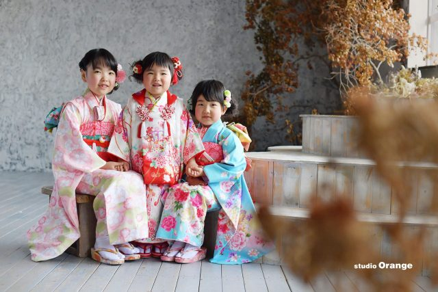 お着物 女の子 姉妹撮影 七五三 春日大社 奈良県写真スタジオ スタジオオレンジ
