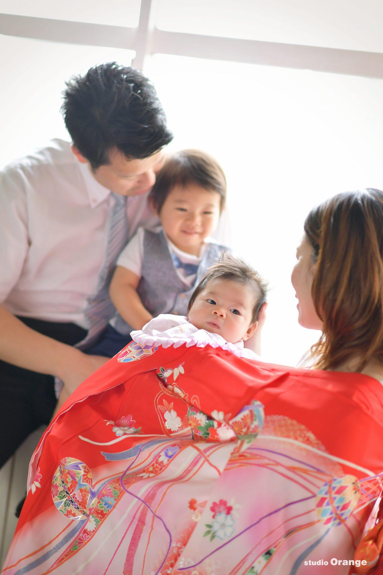 お宮参り 初宮参り 家族写真 ファミリーフォト 2ヶ月女の子