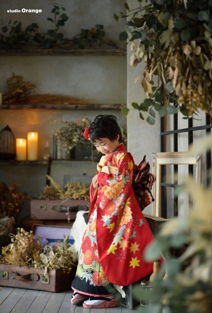 七五三 春日大社 紅い着物 帯解寺 着物 スタジオオレンジ 奈良市写真館 奈良県写真館