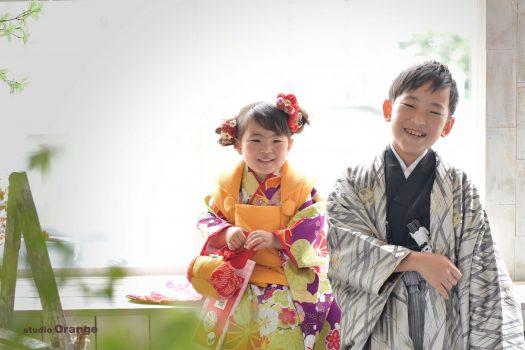 七五三 兄弟 3歳女の子 黄色い被布 奈良 写真館