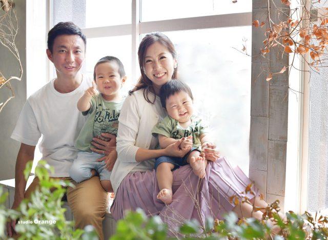 誕生日 バースデー 男の子 兄弟 1歳 家族撮影 奈良 写真館 フォトスタジオ