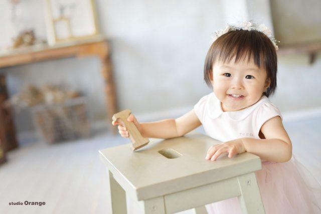 スタジオオレンジ 奈良県写真スタジオ お誕生日撮影 幼児ドレス フォトスタジオ 1歳女の子 お誕生日撮影 ピンクのドレス