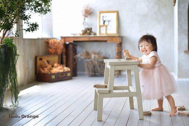 スタジオオレンジ 奈良県写真スタジオ お誕生日撮影 幼児ドレス フォトスタジオ