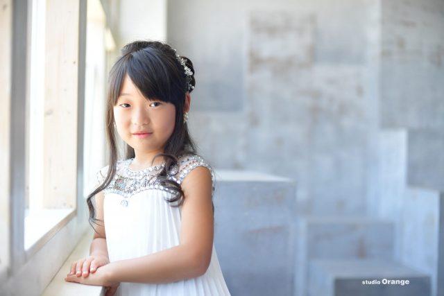 七五三 女の子 紫着物 ドレス 写真 奈良館